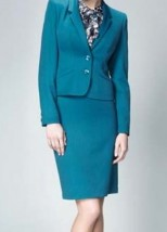 d53560d093 Niebieska damska wełniana garsonka do biura ze spódnicą