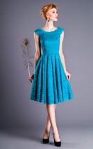 Krótka wieczorowa sukienka damska z niebieskiej koronki - Natasza