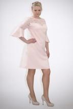 Damska jasno-różowa sukienka wizytowa z koronkowym karczkiem - Paola