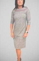 W szarą kratkę damska sukienka do pracy w biurze -  Gosia