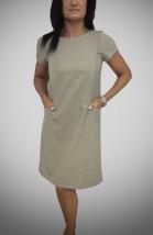 Beżowa wizytowa sukienka damska z wpuszczonymi kieszeniami -  Tesa