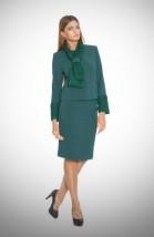 Z dodatkiem eko-futra zielony kostium damski ze spódnicą - RENIA