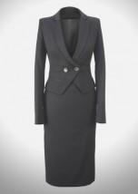 Elegancka czarna garsonka do biura z dwurzędowym zapięciem