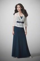 Długa balowa suknia wieczorowa z gipiurową bluzką - Adab