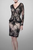 Mała czarna gipiurowa sukienka wieczorowa Luda