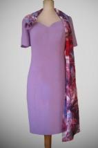 Wrzosowa sukienka wizytowa z kolorowym szalem - Darka