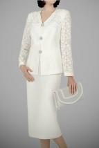 Kremowa garsonka wizytowa z koronkowym żakietem i spódnicą -  Zafira
