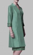 Zielona wizytowa garsonka z płaszczem i sukienką -  Basma