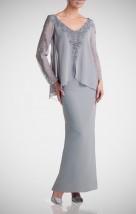 Długa popielata suknia karnawałowa z dodatkiem gipiury -  Hortensja