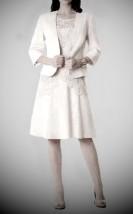 Jasno-beżowa garsonka wieczorowa z sukienką i koronkową tuniką -  Monica