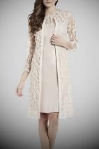 Beżowa garsonka koktajlowa z sukienką i koronkowym płaszczem -  Adela