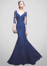 Długa suknia wieczorowa w kształcie syreny z chabrowej koronki - LAURA
