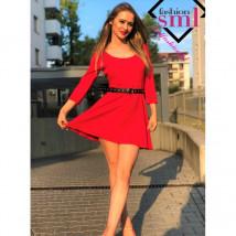 Cerys Rozkloszowana czerwona sukienka, rękawek 3/4, mini
