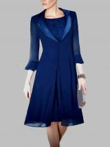 Granatowa garsonka koktajlowa z sukienką i płaszczem -  WANDULA
