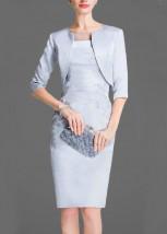 Damska jasnopopielata garsonka koktajlowa z sukienką  -  KAROLA