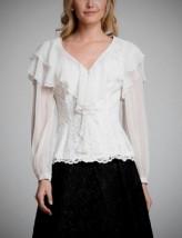 Modna koronkowa biała damska bluzka koktajlowa z żabotem - ALA