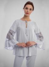Gustowna jasnopopielata lub biała bluzka wizytowa - KLARA