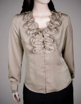 Damska bluzka wizytowa z beżowego jedwabiu - HANIA