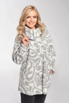 Zimowa długa wełniana kurtka damska w kolorze popielato-ecru  - Andrea