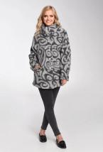 Szaro-grafitowa długa kurtka damska zimowa - Andrea
