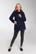 Granatowa ocieplona wełniana kurtka damska typu sportowego - Sabina