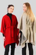 Z czerwonej wełny długie zimowe ponczo damskie - Emerald