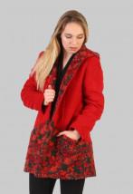 Zimowa długa kurtka damska z czerwonej wełny - Flora