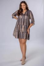 Trapezowa sukienka z falbanami w zwierzęcy wzór M81672 - CN11 - 1 - 38/40