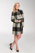 Wełniany płaszcz damski w szaro-żółtą kratę - Sylwia
