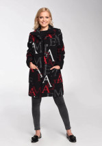 Zimowy czarny płaszcz damski w litery - Inez