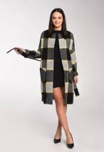 W szaro-żółtą kratę wełniany płaszcz damski - Zyta