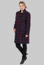 Elegancki zimowy płaszcz damski z granatowej wełny - Maria