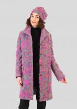 Modny damski płaszcz wełniany w kolorze popielatym z różowym - Inka